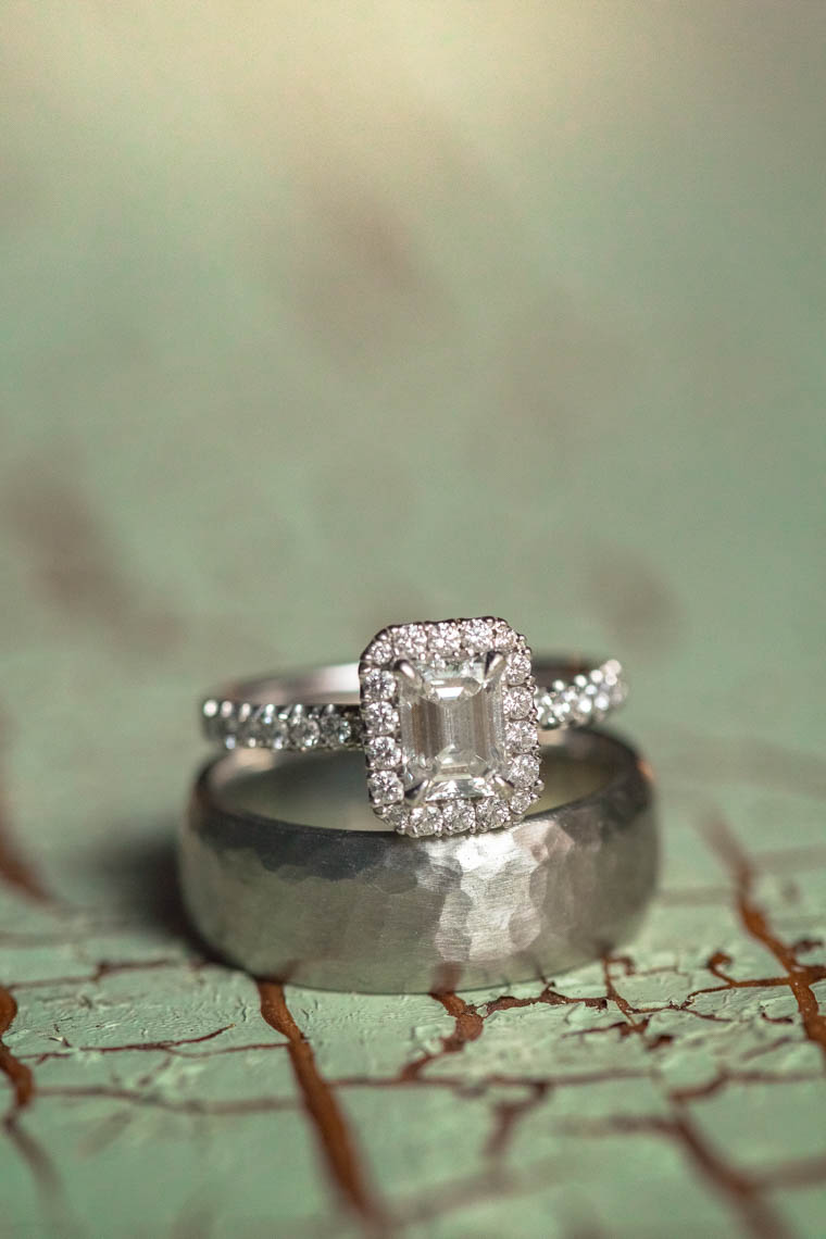 Closeup of wedding and engagement rings captured by whistler photographer