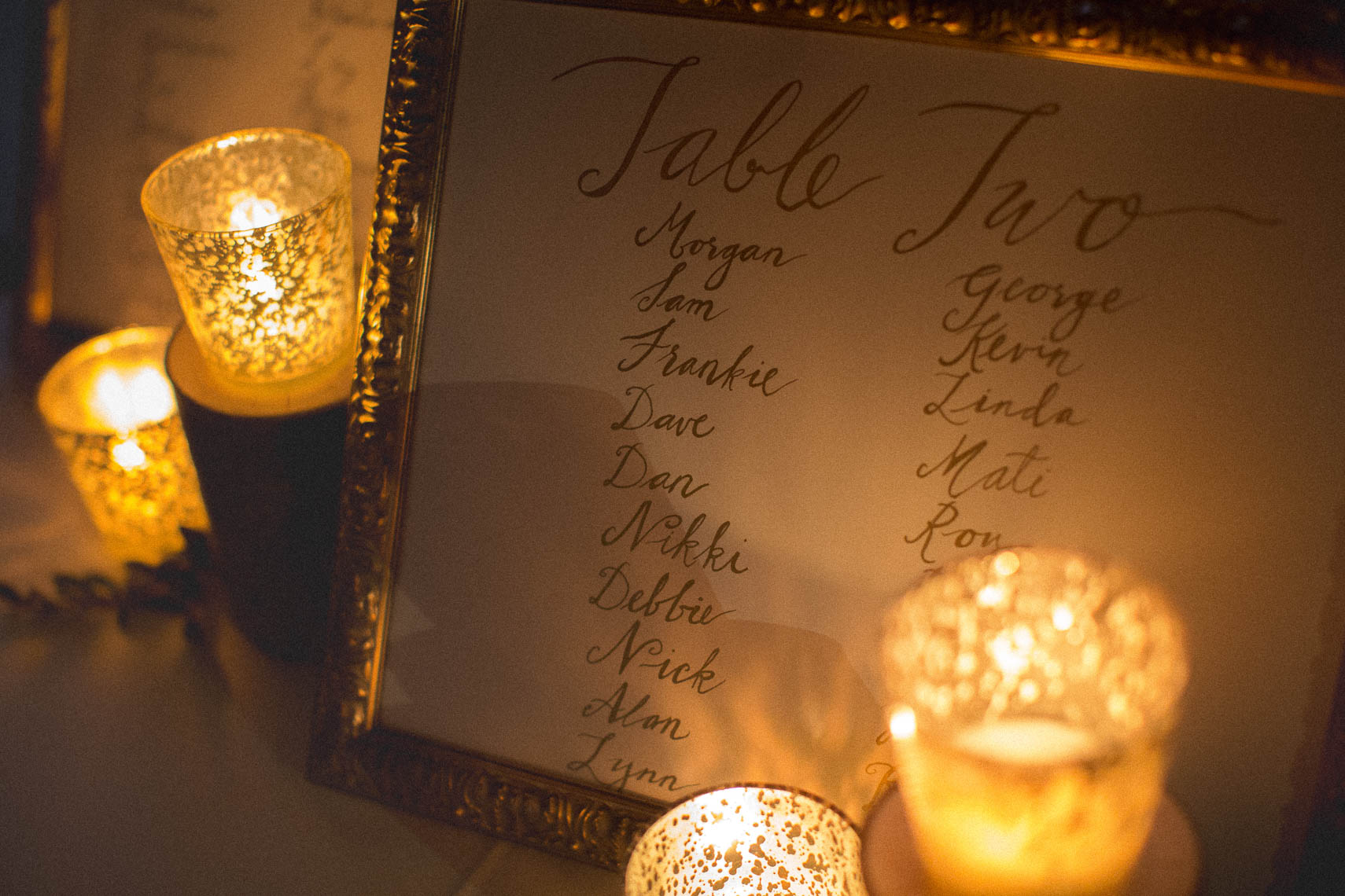 Candlelit wedding detail photography
