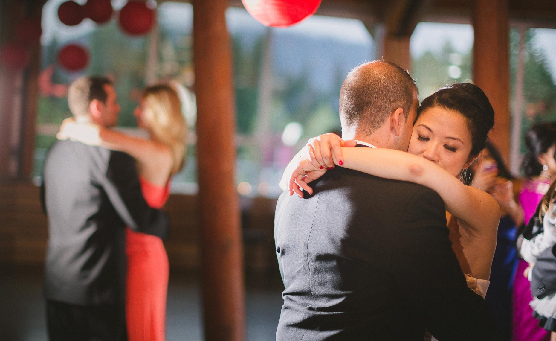 Romantic wedding photography of first dance in Whistler