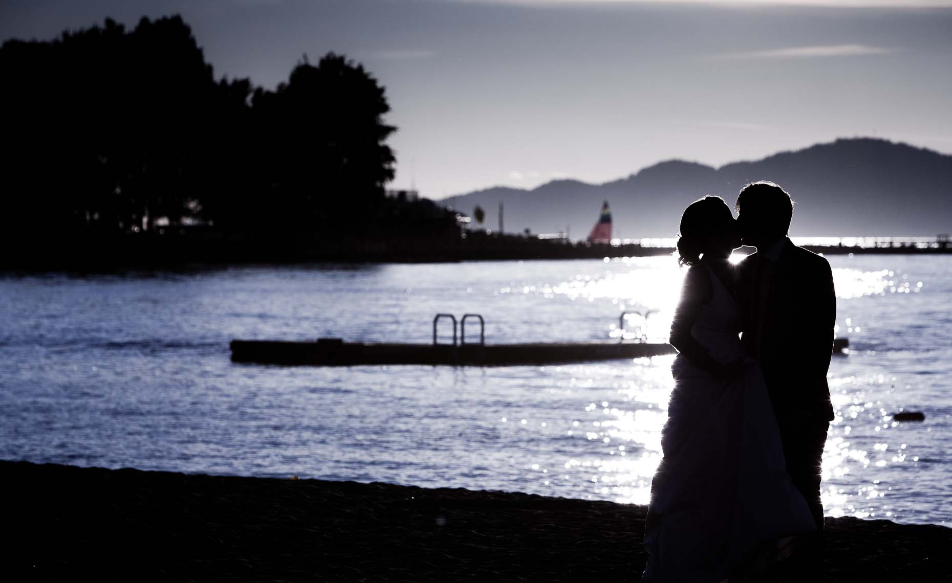 romantic wedding couple silhouette at jericho beach in vancouver