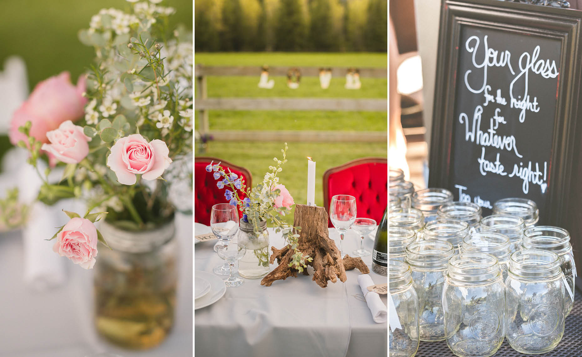 Closeup wedding decor details by whistler wedding photographer