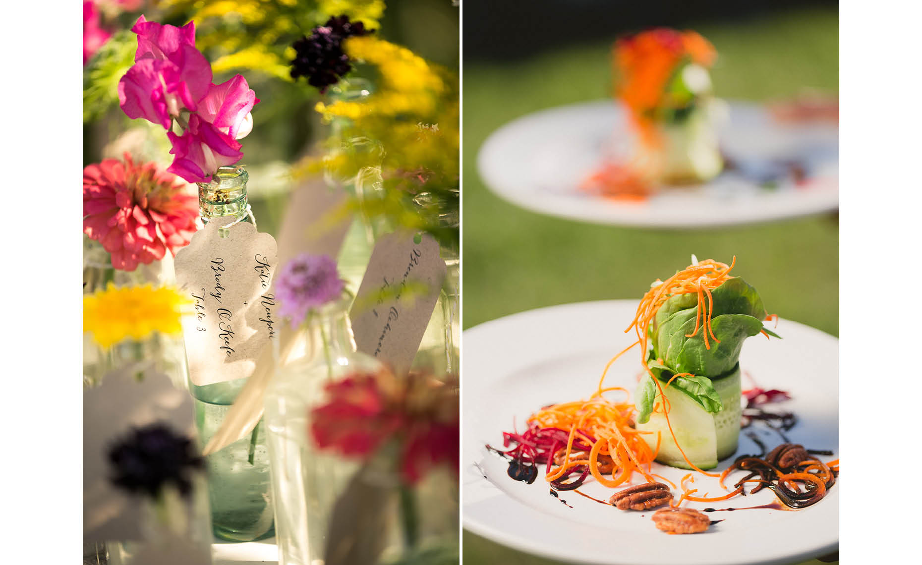 Vintage style organic wedding flowers and food in Whistler.
