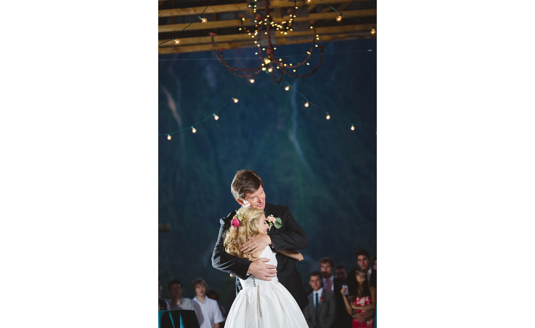 Father and bride dance at vintage style whistler wedding.