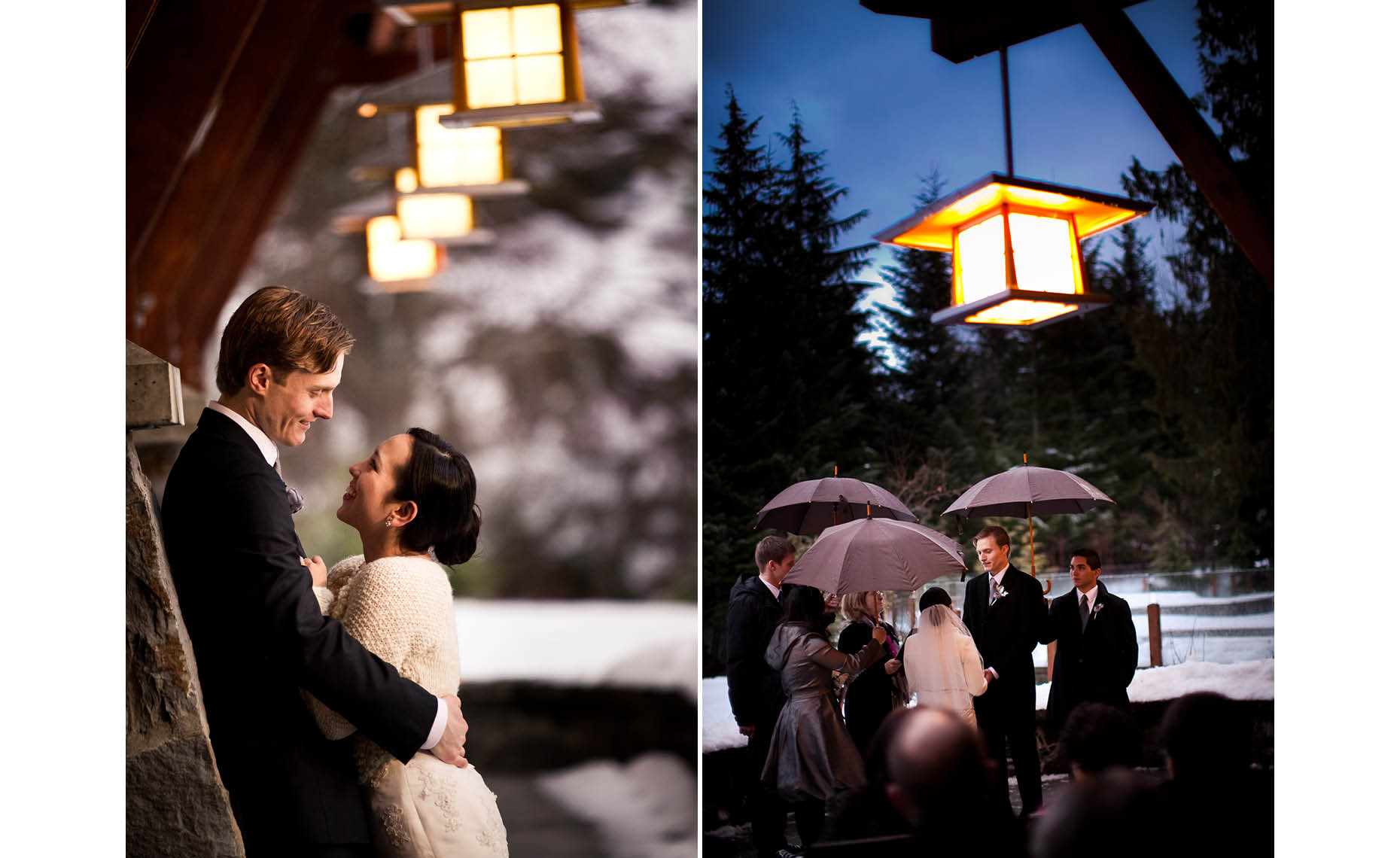 Whistler evening winter wedding couple portrait